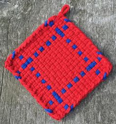 Red and blue cotton loop pot holder, woven trivet, oven mitt, hot pad, small potholder, home decor, housewarming gift, decor gift by NeverNotWeaving on Etsy