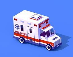 """Check out new work on my @Behance portfolio: """"Low Poly Ambulance Car"""" http://be.net/gallery/34624577/Low-Poly-Ambulance-Car"""