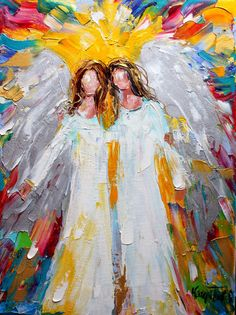 Original angels oil painting by artist Karen Tarlton.  Painted on gallery wrapped canvas in impasto oil technique with palette knife. Title: Angel