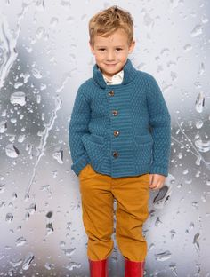 A jumper and wellies for your little man. Aymara knitwear