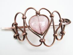 rose quartz copper hair piece with stick