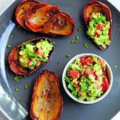Cumin Potato Skins and Guacamole Salsa. Recipe from http://www.sheerluxe.com/blogs/2012/08/recipe-of-the-day-cumin-potato-skins-and-guacamole-salsa.aspx?s=1.