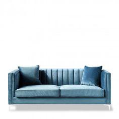 Christopher Sofa 3,5 Seater, velvet, ocean blue Decoration, Regency, Blues, Velvet, Ocean, Couch, Furniture, Home Decor, Products