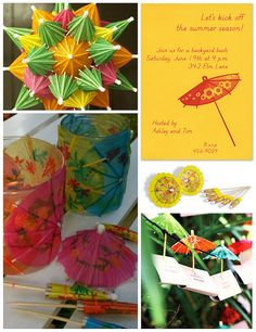 diy umbrella decorate votives and other decor Luau Party Invitations, Luau Theme Party, Themed Parties, Party Themes, Party Ideas, Kids Umbrellas, Paper Umbrellas, Graduation Decorations, Diy Party Decorations