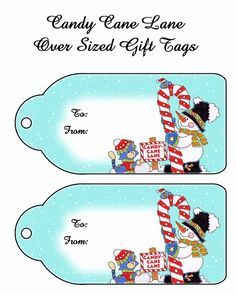 Candy Cane Xmas Gift Tags
