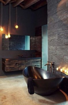 Breathtaking 13 Best Industrial Bathroom Decoration Ideas You Must Try Do you want to renovate bathroom decor at home? You can try industrial bathroom decor that is comfortable and not many people have it. Dark Bathrooms, Dream Bathrooms, Beautiful Bathrooms, Romantic Bathrooms, Rustic Bathrooms, Luxury Bathrooms, Master Bathrooms, Dark Brown Bathroom, Charcoal Bathroom