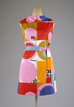 Dress. 1967-1968. American. This dress was designed by Rudi Gernreich who was an American designer that was born in Austria. This dress is made out of polyester.  This dress has an op art style (possibly pop art style). Op art exploits the illusions or optical effects of perceptual processes. It plays with the eye with lines and patterns. The Metropolitan Museum of Art.