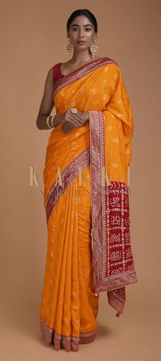 Fire Yellow Saree With Weaved Floral Buttis And Bandhani Printed Pallu Online - Kalki Fashion Bandhani Saree, Silk Sarees, Lehenga Style Saree, Sari, Yellow Saree, Party Wear Sarees, Beautiful Saree, Indian Designer Wear, Indian Outfits