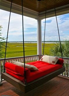 Farmhouse Porch Swings, Porch Bed, Farmhouse Front, Modern Farmhouse, Outdoor Hanging Bed, Hanging Beds, Hanging Chairs, Outdoor Beds, Outdoor Rooms