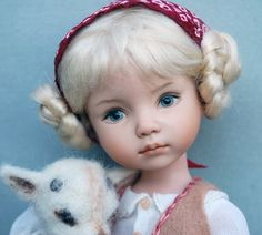 "10"" porcelain doll -Heidi and the Apple goat-- OOAK presentation of the Dianna Effner sculpt Little Darling I"