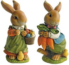 Design Toscano Bunny Hop Lane Mother and Father Rabbit Statue Set of 2 Garden Animal Statues, Garden Animals, Rabbit Sculpture, Garden Sculptures, Ceramic Sculptures, Wooden Statues, Baby Chickens, Cat Statue, Mother And Father