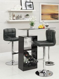 "Looking for a contemporary 47"" Contemporary Black Glass Bar Counter with stemware rack. Find the best bar room furniture on eFurnitureHouse"