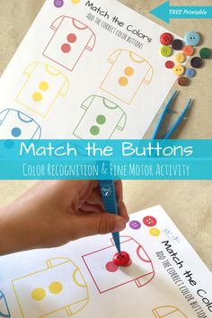 Match the Buttons, fun preschool color recognition and fine motor skills activity! (Free printable)