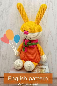 Amigurumi Crochet Pattern: Bunny. The crochet pattern is provided as a digital file in PDF format. The finished product is 10.6 inches / 27 cm tall (with ears). #amigurumipattern #amigurumi #crochettoy #Crochetbunny #mycosinessart