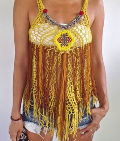 Handmade Yellow Tribal Crochet Top by SpellMaya on Etsy