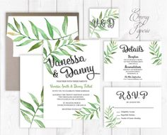 Leaf wedding invitation botanical wedding invitation garden wedding invitation green wedding invitation