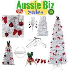 Xmas Christmas Tree 1.8M 6ft 180cm  White Metal Stand With Ornament Decorations  #Unbranded #Christmas