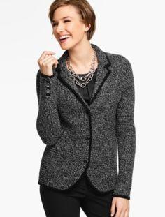 Merino Wool Basket-Weave Sweater Jacket - Marled Black/Ivory - Talbots