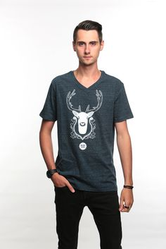 """-Bambi- Black Aconite is a young creative brand which present limited edition graphism  Silkscreen print of """"Bambi"""" artwork Artwork : David Lab' Color of the tee : Dark Heather Denim Printed in France Limited edition of 25 copies  Organic V-neck T-shirt. Single jersey. 100% organic ring-spun Combed Cotton 155 gsm."""