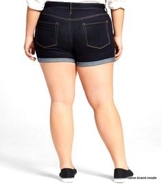fdf81f9c2bf AVA  amp  VIV NWT Midi SHORTS Womens PLUS 22W 22 3X Dark Indigo Denim Cuffed