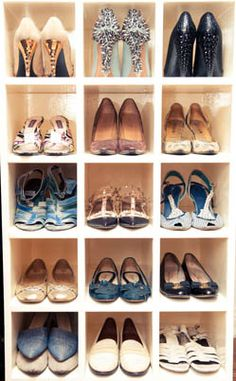 shoes organized in cubbies