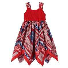 Featuring a bandana-inspired design, this girls' Blueberi Boulevard handkerchief-hem sundress is a both pretty and patriotic. Baby African Clothes, African Dresses For Kids, Latest African Fashion Dresses, Little Girl Dresses, Baby Frocks Designs, Kids Frocks Design, Stylish Kids Fashion, Kids Dress Wear, Baby Dress Design