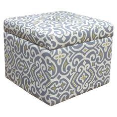 Accent Furniture Storage Ottoman New Damask Gray & Yellow