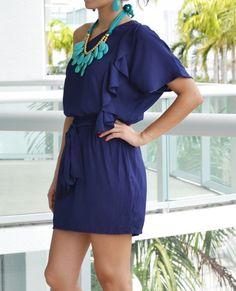 Blue one dress shoulder dress withbruffle details | love the blue and aqua color combo LoveShoppingMiami.com #blue #dress