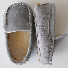 Grey Moccasins by TOMS. If I had a little boy...Swag!