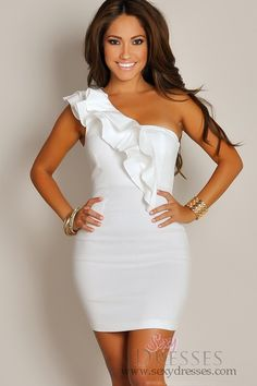 Sexy Haute White Asymmetrical Ruffle Party Mini Dress