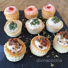 You searched for Canapes - Divina Cocina Chef Recipes, Appetizer Recipes, Cooking Recipes, Mini Vol Au Vent, Good Food, Yummy Food, Appetisers, Easy Cooking, Brunch