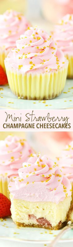 Strawberry Champagne Cheesecakes Mini Strawberry Champagne Cheesecakes - lots of champagne and strawberry flavor! Perfect for New Years Eve!Mini Strawberry Champagne Cheesecakes - lots of champagne and strawberry flavor! Perfect for New Years Eve! Cheesecake Recipes, Cupcake Recipes, Baking Recipes, Cupcake Cakes, Dessert Recipes, Cheesecake Cups, Rose Cupcake, Raspberry Cheesecake, Baking Desserts