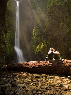 Enjoying the view at Lower Falls in Oneonta Gorge, Oregon, USA (by devwild).
