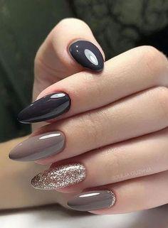 Discover new and inspirational nail art for your short nail designs. Almond Acrylic Nails, Fall Acrylic Nails, Autumn Nails, Glitter Nail Art, Almond Nails, Stylish Nails, Trendy Nails, Cute Nails, Short Nail Designs