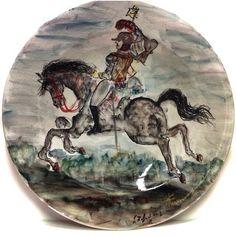GIOVAN FRANCESCO GONZAGA CAVALIERE DIPINTO SU PIATTO IN CERAMICA 52cm (1/60) ☲☲☲☲☲☲☲☲☲☲☲☲☲☲☲☲☲☲☲☲ KNIGHT ON CERAMIC PLATE