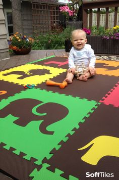 SoftTiles Foam Play Mats can be used to create temporary cushioned play areas on decks and patios. We recommend only temporary use because UV rays break down plastics over time. This is the Safari Animals Set in Red, Yellow, Orange, Lime, and Brown.