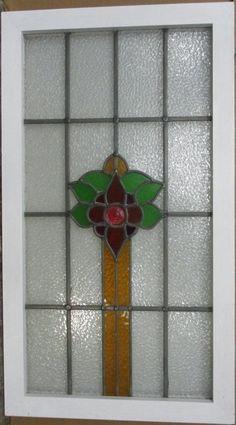 "OLD ENGLISH LEADED STAINED GLASS WINDOW Stunning Geometric Burst 22/"" x 13.75/"""