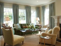 Living Room - silk drapes, colors -  designed by Palmer Weiss
