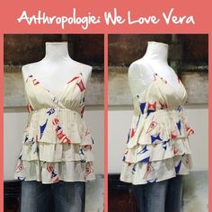 """Anthro """"Banderole Tank"""" by We Love Vera Silk pullover tank smocked back, crisscross straps. Great condition.  **  Prices are as listed- No offers please.  I'm happy to bundle to save shipping costs, but there are no additional discounts.  No trades, paypal or condescending terms of endearment  ** Anthropologie Tops Tank Tops"""