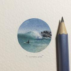 Postcards for ants (après Paintings for ants en 2013), des œuvres de Lorraine Loots, une artiste de Cape Town, qui en produit une par jour de l'année. Elle connait un succès formidable et on comprend pourquoi! Pour voir d'autres pièces : http://paintingsforants.tumblr.com/archive