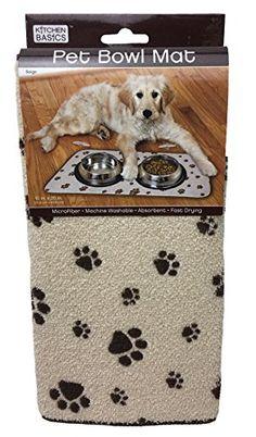 Dog Feeding Mats Kitchen Basics Microfiber Antiskid Pet Bowl Mat Beige 10 X 20