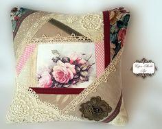 Oreiller chic minable, coussin décoratif,  patchwork,vintage rose, reproduction imprimée sur toile.Cet oreiller couvre, pas l'oreiller