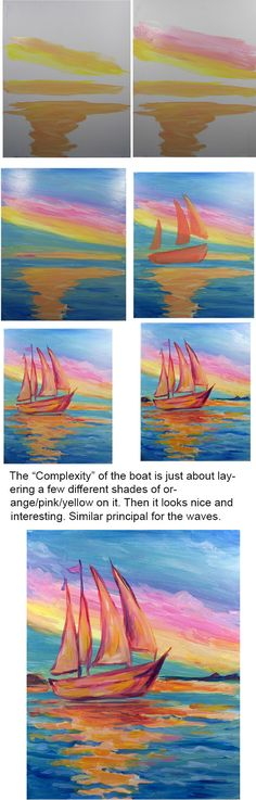 Sail into Dusk  Colors- ultra. blue, Red, yellow, white.  Brushes: Big flat, medium rounds.