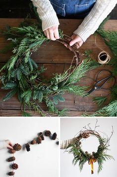 amy merrick's hosting a wreath-making workshop! Aren't the results lovely? I adore this wild, undone round with its pretty yellow ribbon