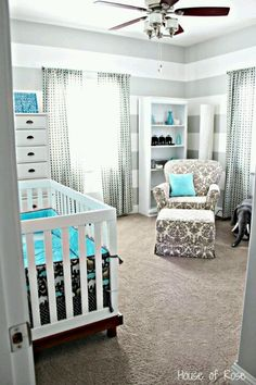Grey stripes, damask chair, pops of bright color.