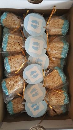 Rice treat pops make every occasion better, which makes them the perfect favor for a baby shower. Check out more easy and cheap favor ideas at CafeMom. #babyshowers #babyshowerideas