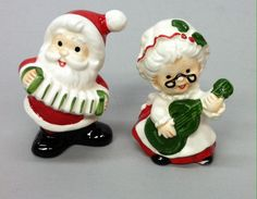 Vintage Lefton Santa Mrs Claus Playing Guitar Accordion Salt Pepper Set | eBay