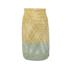 Natural & Sky Blue Bamboo Lantern with Glass Insert by Bloomingville