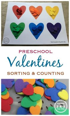 Valentine's Counting and Color Sorting Activity Preschool Valentines Activity – free printable! Teaching 2 and 3 Year Olds Preschool Learning, In Kindergarten, Preschool Crafts, Preschool Education, Preschool Lessons, Preschool Ideas, Kids Crafts, Easy Crafts, Valentine Theme