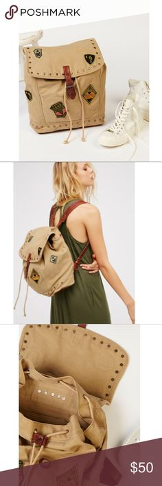 Free People Thunder Bird Packpack Canvas with leather straps and patches Free People Bags Backpacks